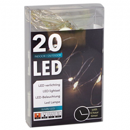 LED  String Chain Lights with 20 Micro LEDs  2mtr length  Plus TIMER for  OUTDOORS